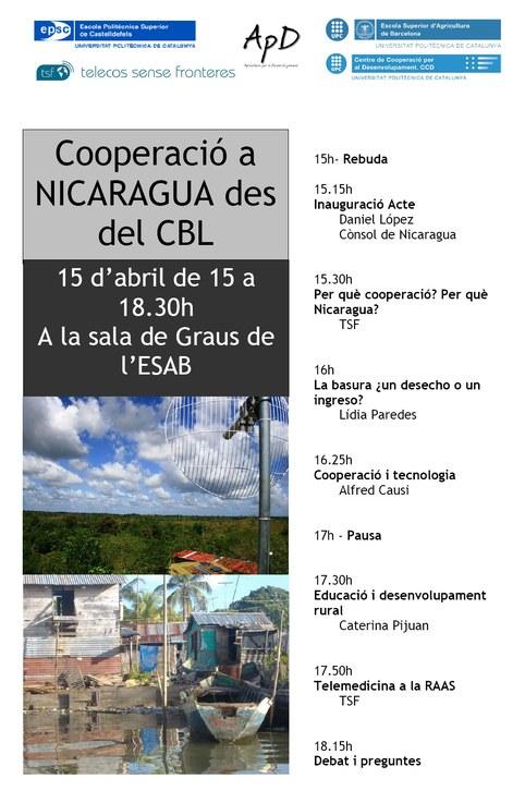 Cartell acte: Cooperació a Nicaragua des del CBL