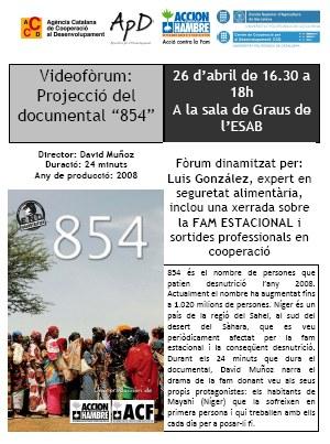 """Cartell: Videofòrum """"854"""""""