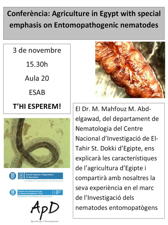 Conferència: L'Agricultura a Egipte amb especial èmfasi en els nematodes entomopatògens